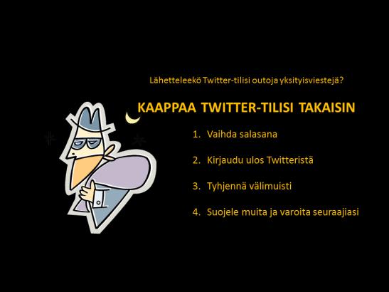 Twitter-tilin takaisinkaappaus ohje